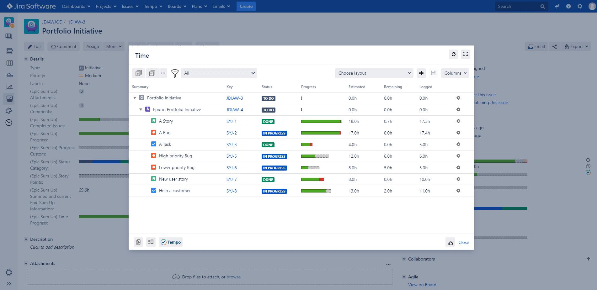 Epic Sum Up 3.6: Portfolio support, Tempo report call, J8.9